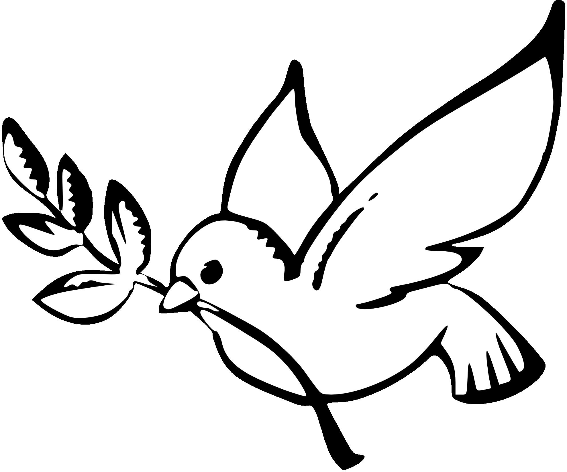 Christmas Dove Clip Art Black and White