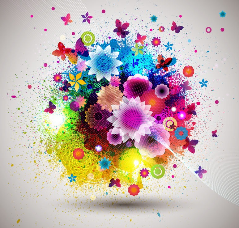 9 Beautiful Abstract Flowers Vector Images