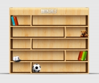 Empty Wooden Bookshelf