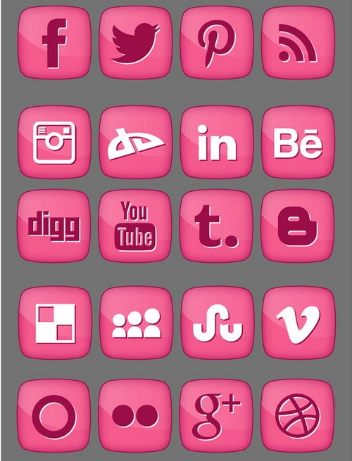 Free Social Media Icons Pink