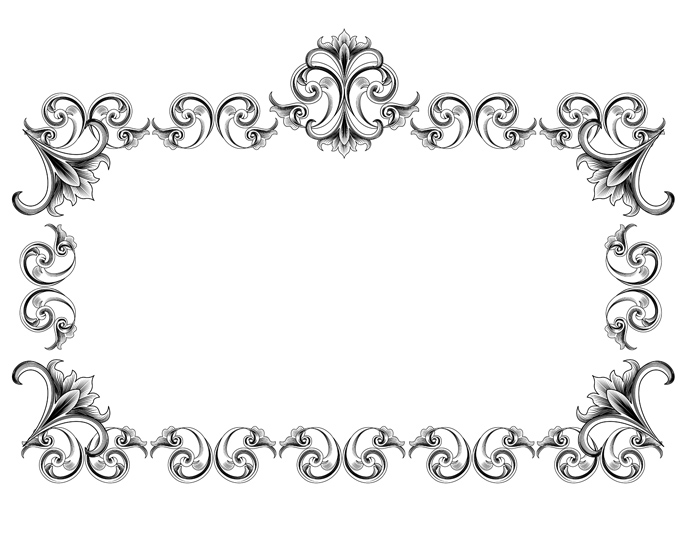 20 Black Victorian Frame Vector Images