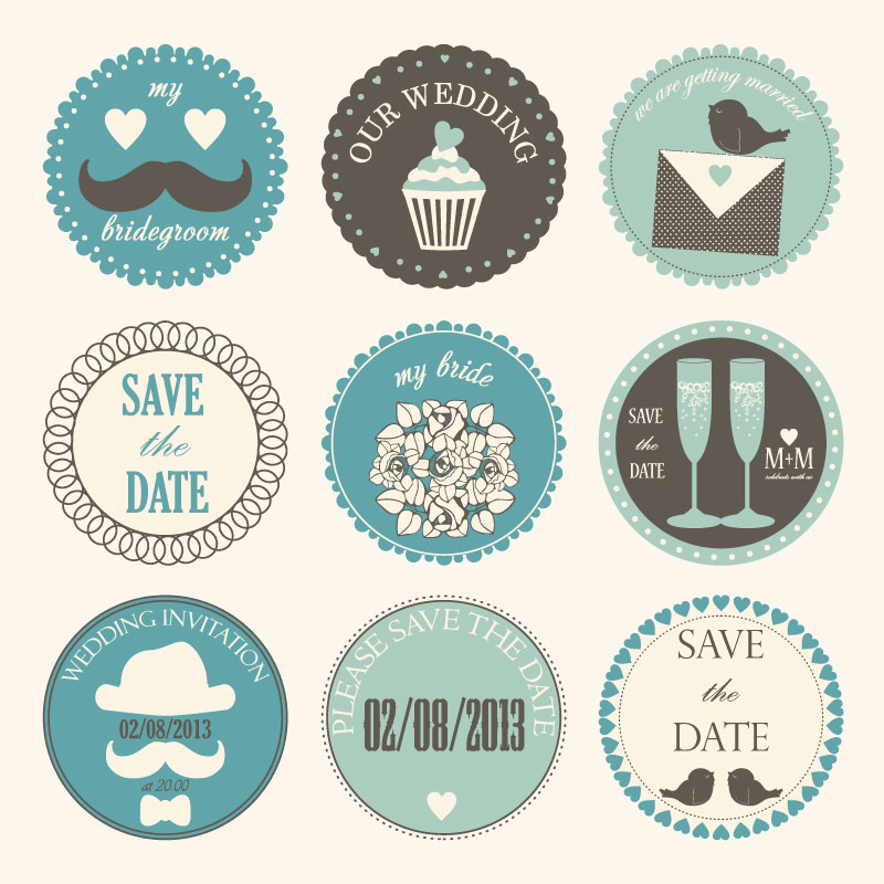 Free Wedding Labels Vector