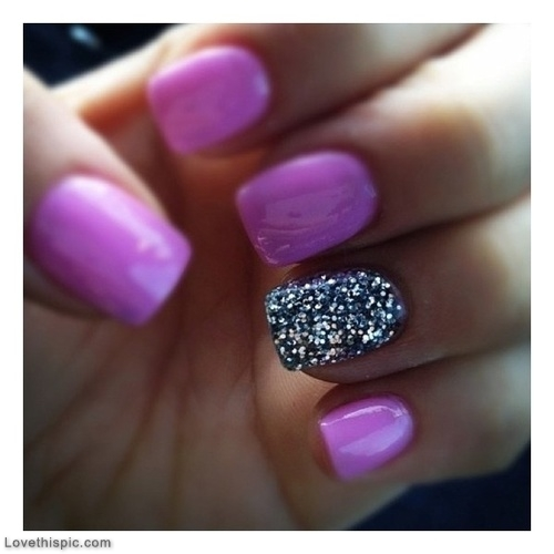 14 Purple Glitter Acrylic Nail Designs Images