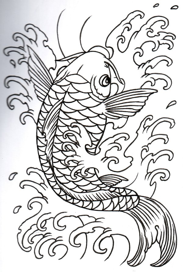Japanese Koi Fish Tattoo Outline Designs
