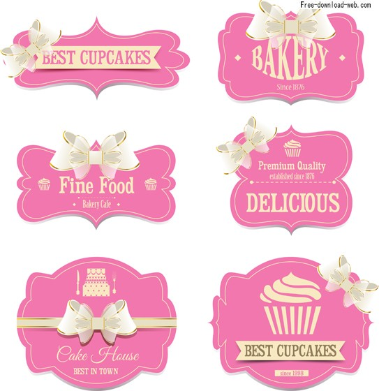 Labels with Ribbon Vector