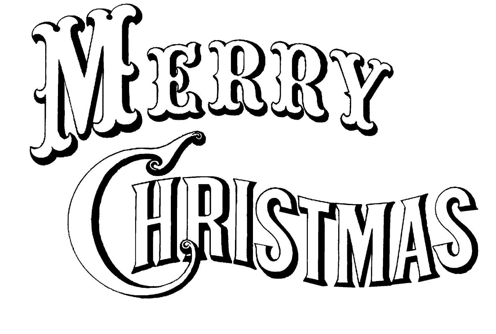 Merry Christmas Clip Art Black White