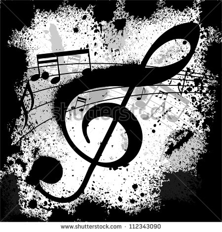 Music Notes Background White with Black