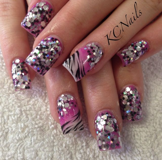 Pink and Purple Glitter Acrylic Nails