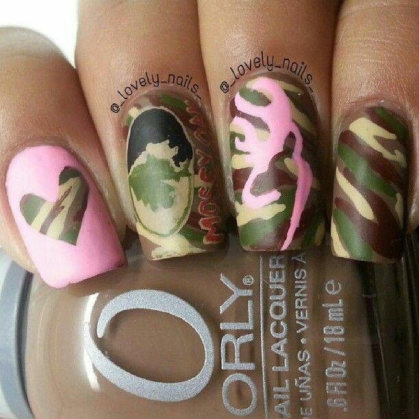 Pink Mossy Oak Camo Nails