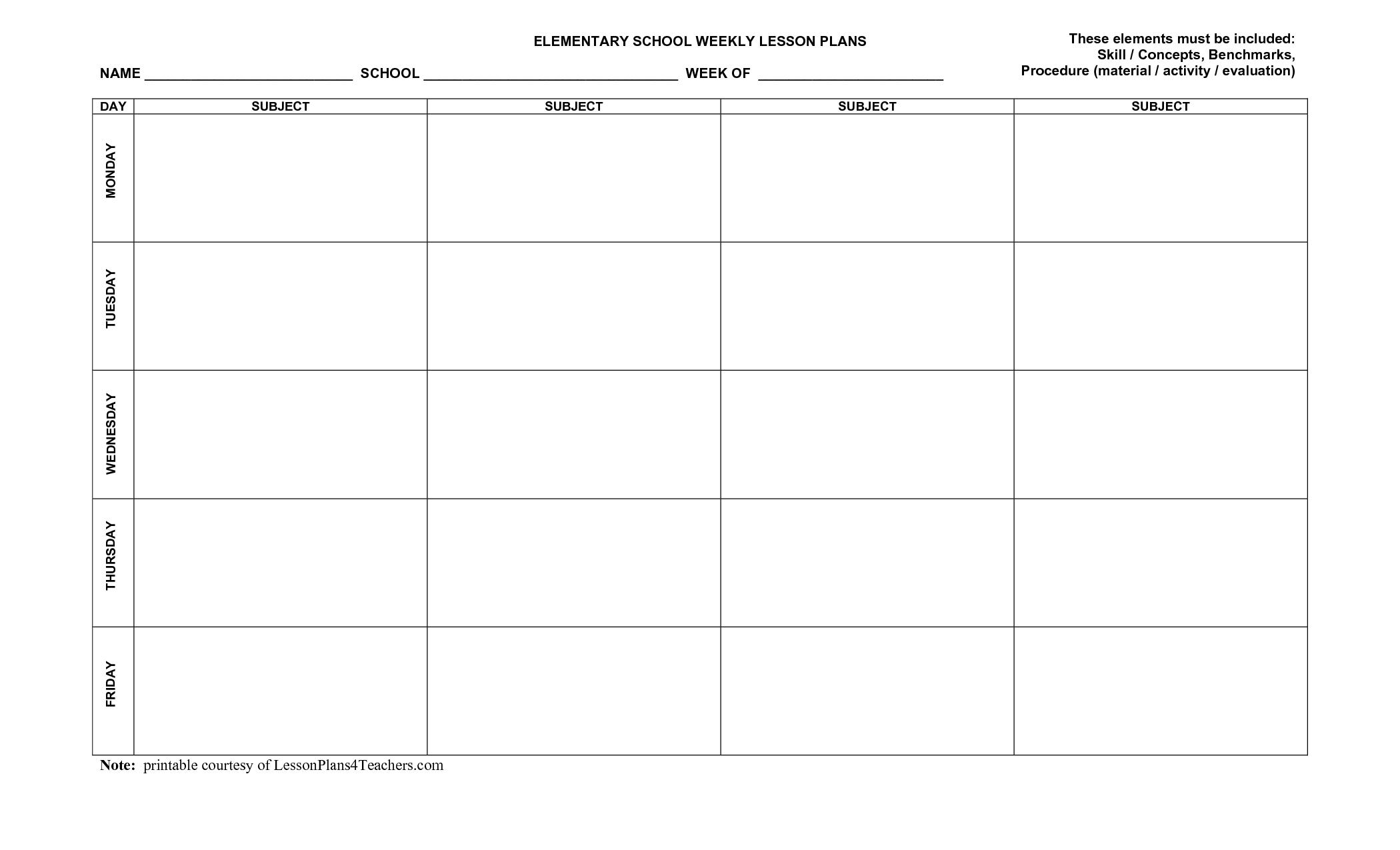 Printable Blank Lesson Plan Templates