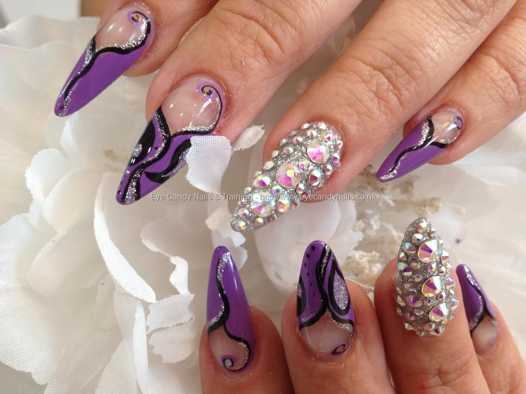 Purple Acrylic Nails Stiletto