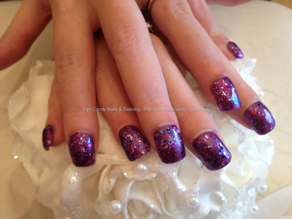 Purple Acrylic Nails with Glitter