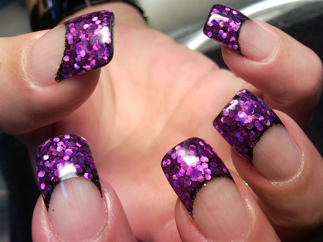 Purple Glitter Acrylic Nails French