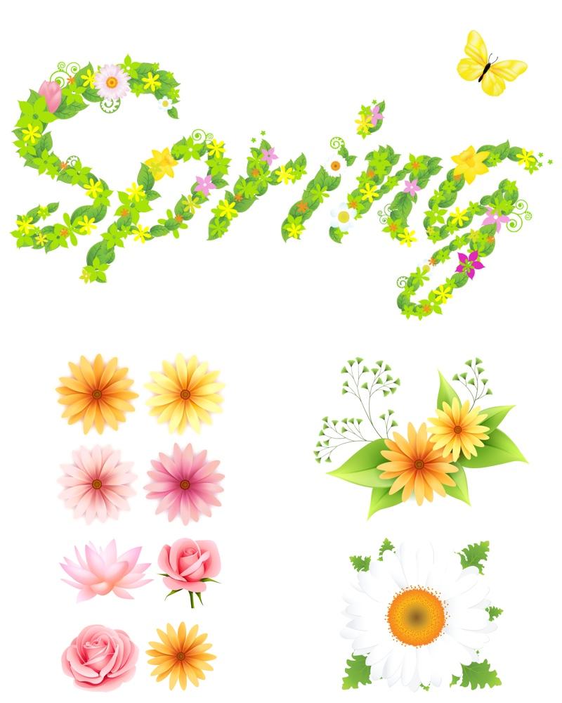 Spring Flowers Clip Art Vector