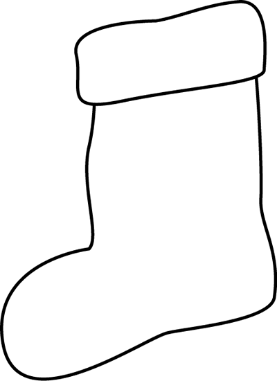 Stocking Clip Art Black and White
