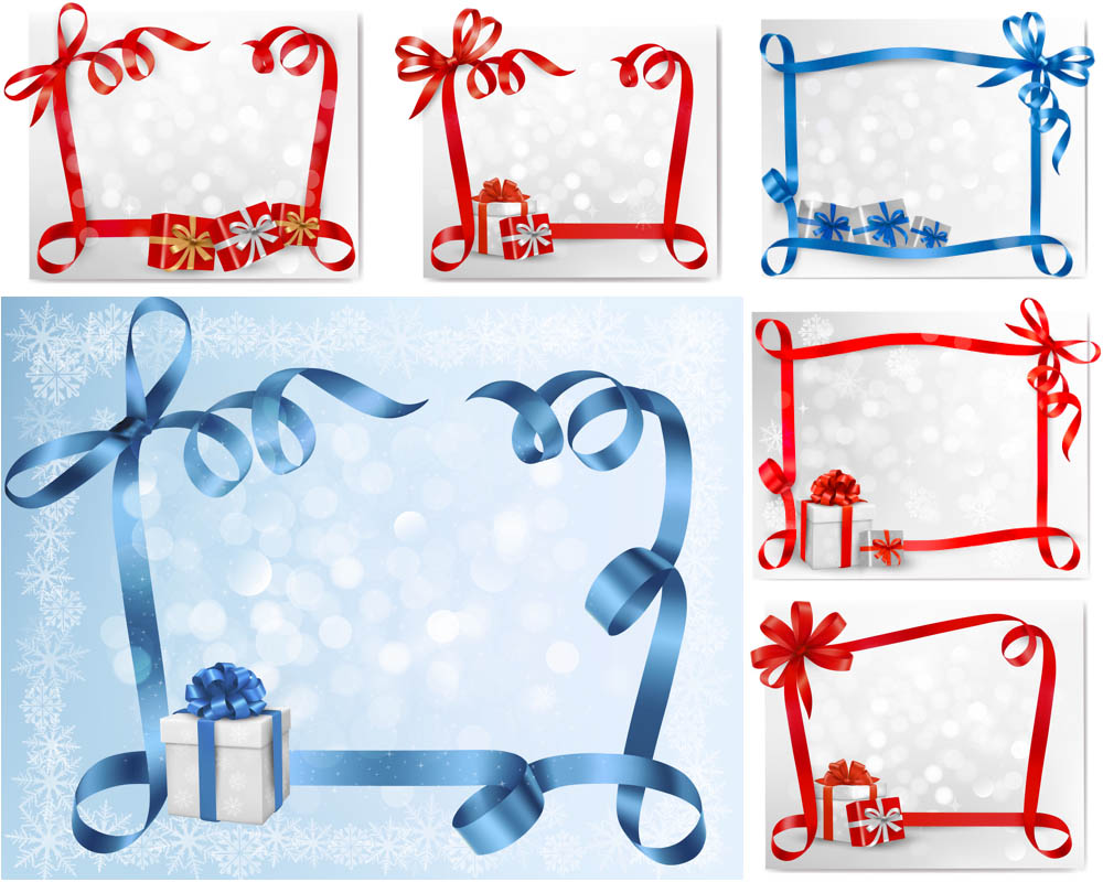 11 Blue Christmas Ribbon Vector Images