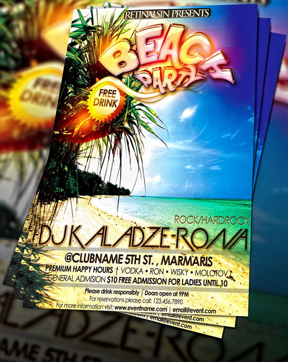 Beach Party Flyer Psd Images  Beach Party Flyer Template Free