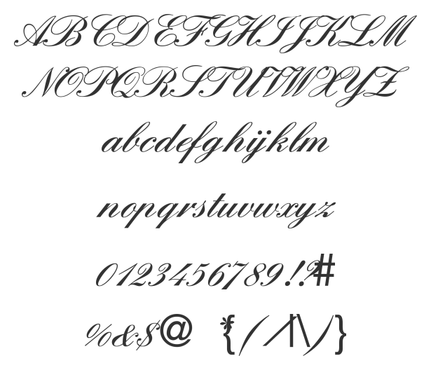 Beautiful cursive handwriting alphabet font