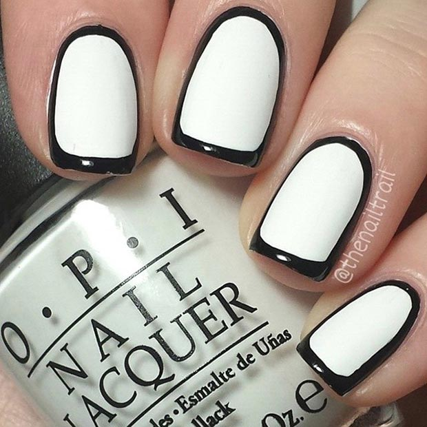19 Black And White Nail Designs For Short Nails Images