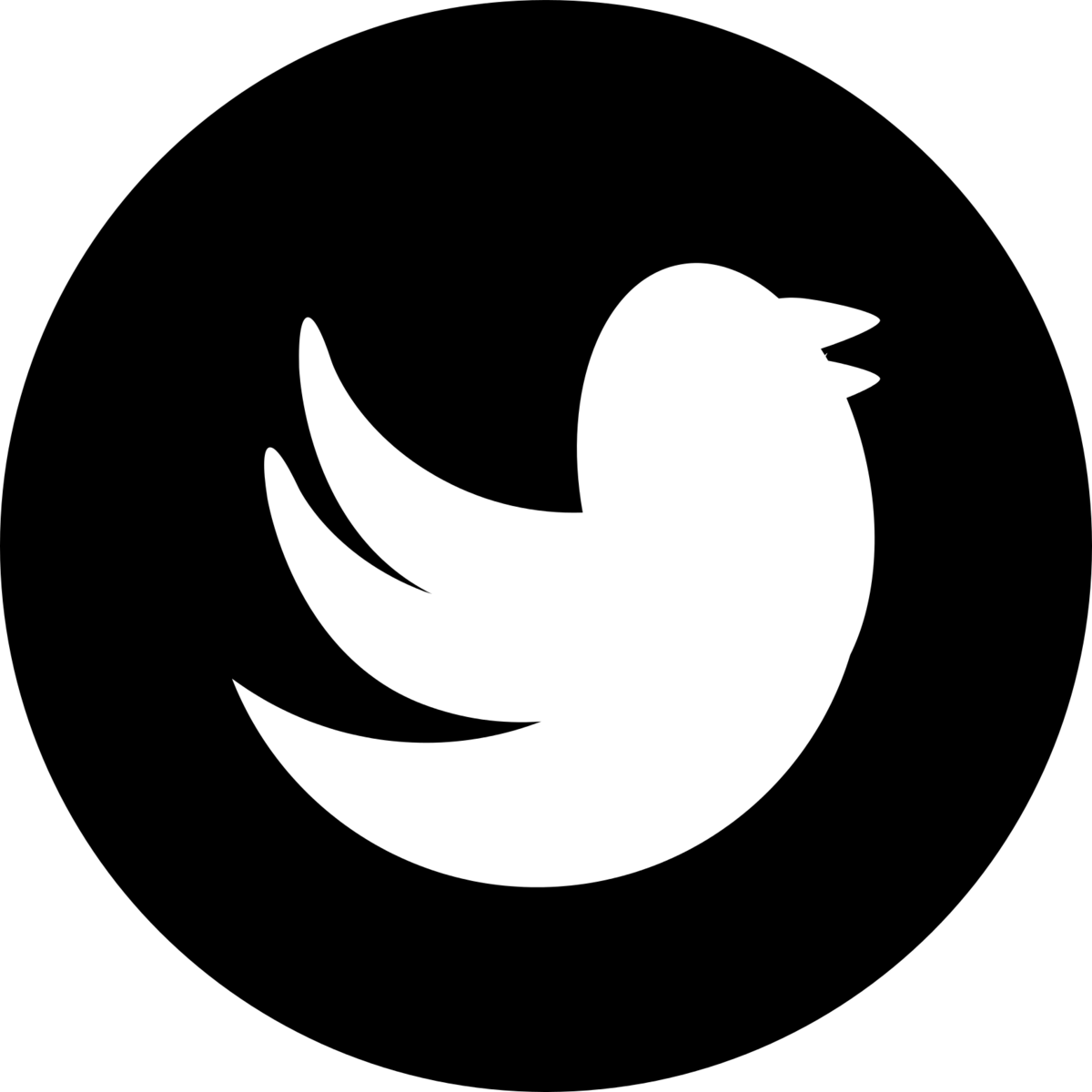 Black and White Twitter Icon Circle Transparent