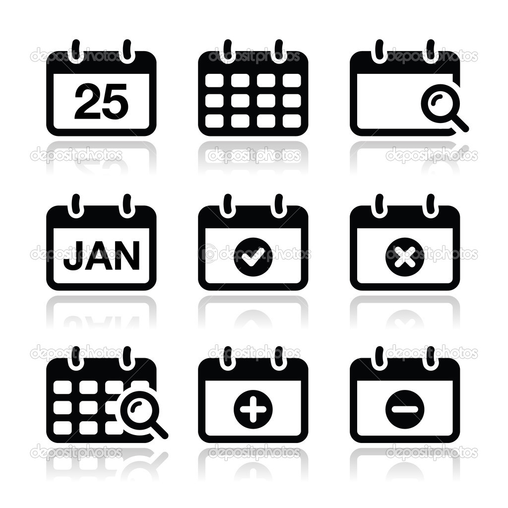 Black & White Calendar Icons