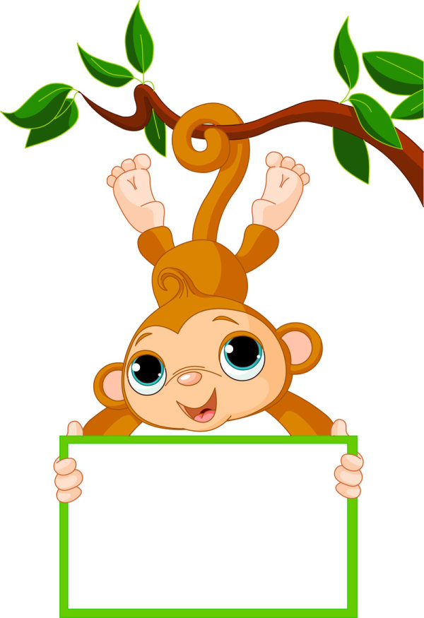 8 Cute Cartoon Monkey Vector Images
