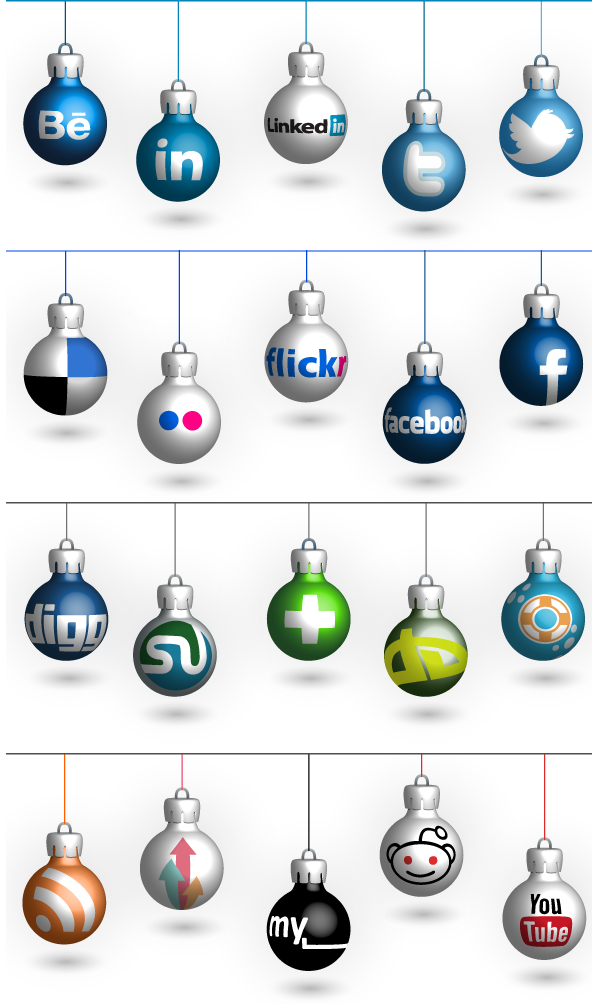 12 Christmas Social Icons Images