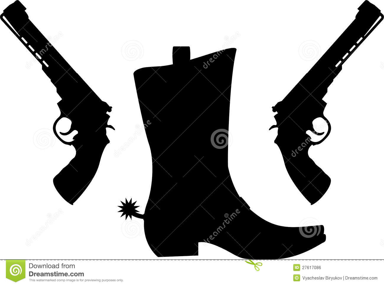 Cowboy Boot with Spur Silhouette