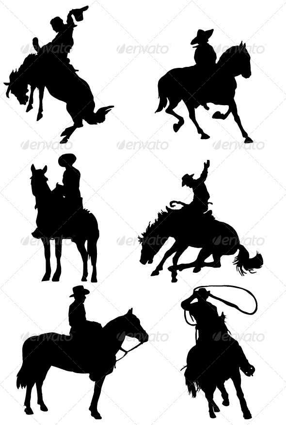 Cowboy On Horse Riding Silhouette