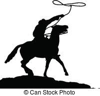 Cowboy Roping Silhouette Clip Art