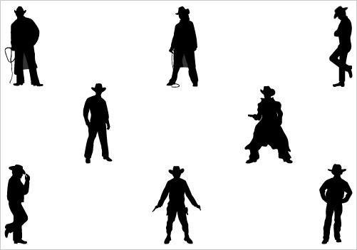 Cowboy Silhouette Clip Art Vector