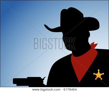 Cowboy Silhouette with Guns