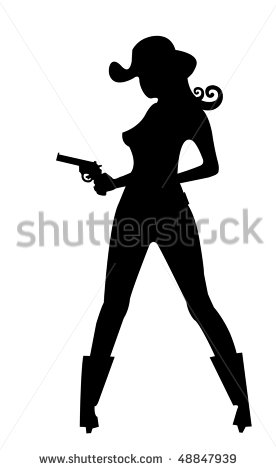 Cowgirl with Gun Silhouette