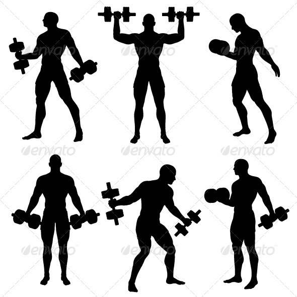 6 Dumbbell Silhouette Vector Images