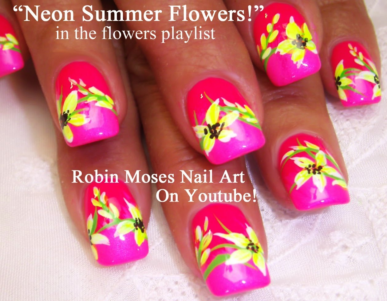 Flowers Design Nail Art Neons