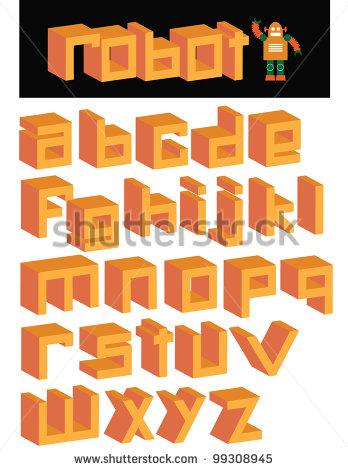 Font Square Letters Alphabet
