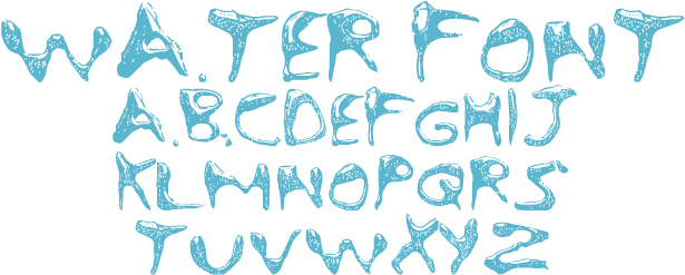 18 Water Font Text Images