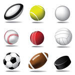 Football Baseball Basketball and Soccer Balls