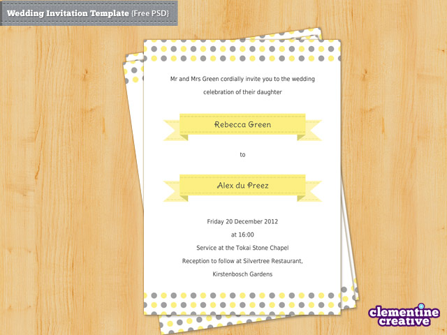 Free Wedding Invitation PSD Template