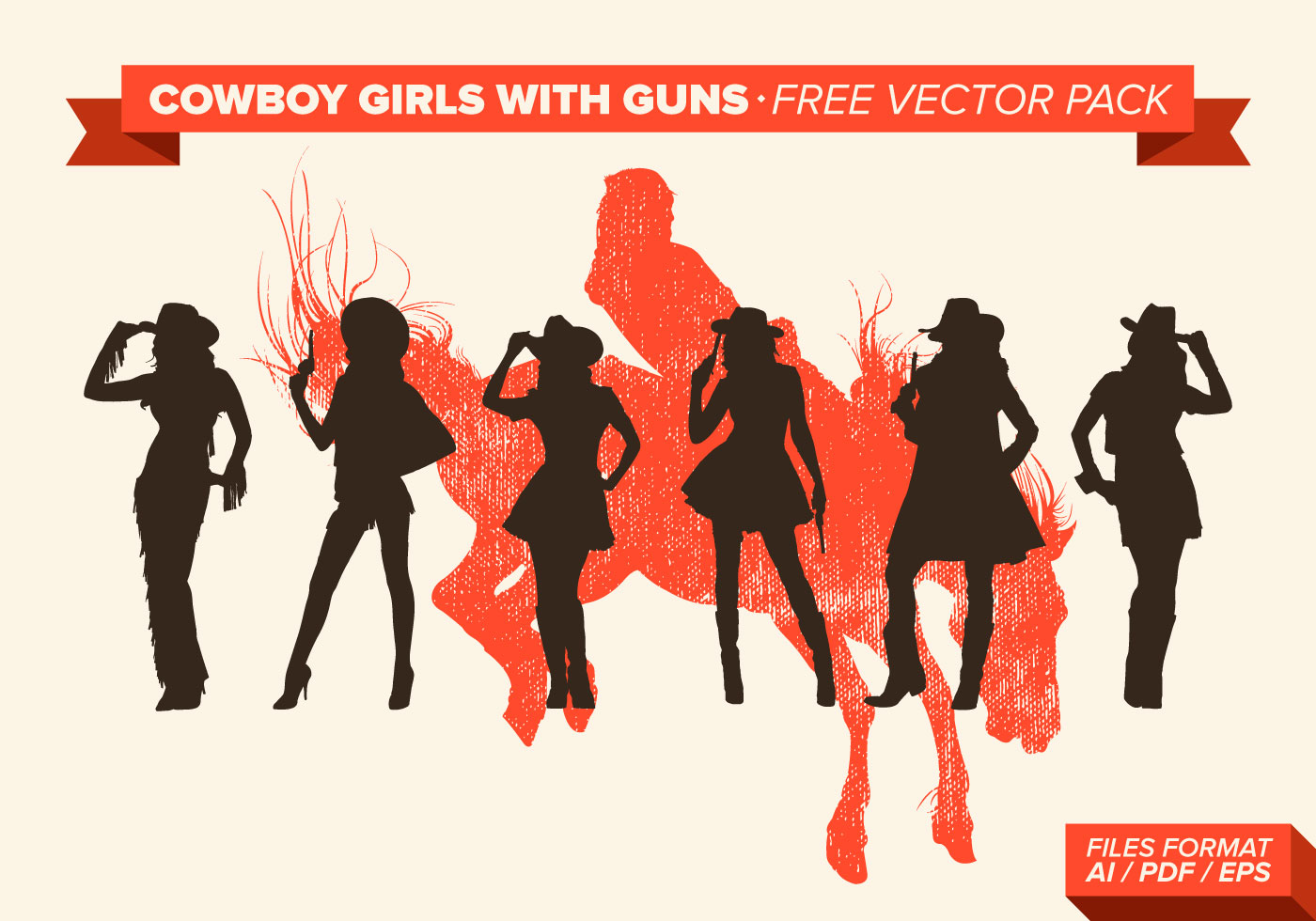Girl Silhouette Cowgirl with Gun