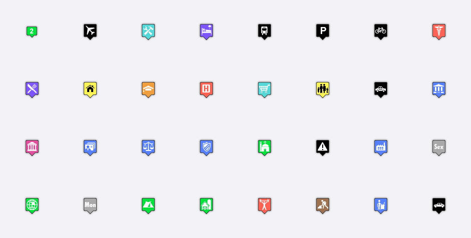 8 Large Map Icons Images