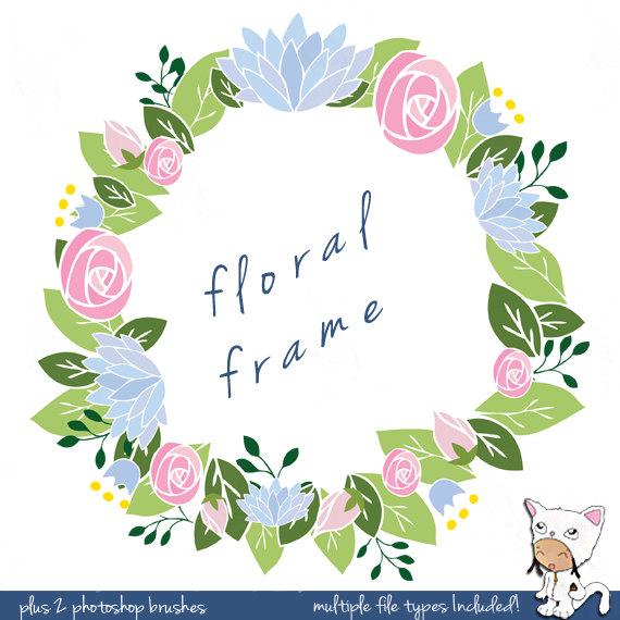 Hand Drawn Frame Clip Art Flowers