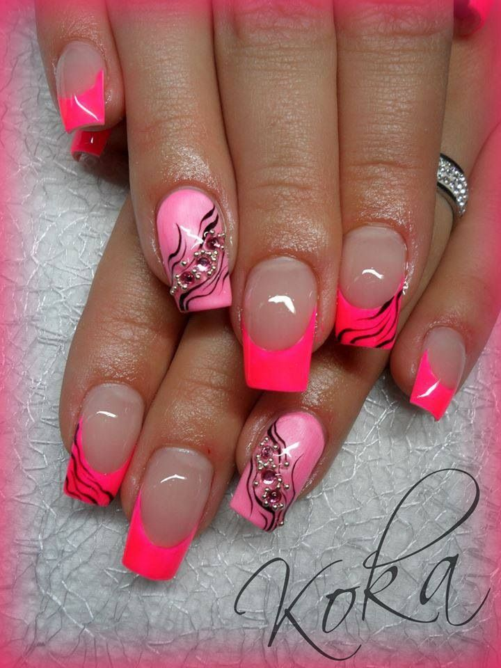 7 Neon Pink Nail Designs Images - Neon Summer Nail Designs, Pink ...