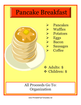 Pancake Breakfast Flyer Template Free