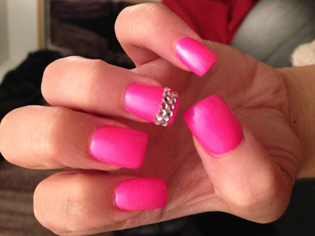Pink Nail Designs with Rhinestones