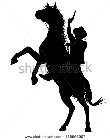 Silhouette Cowboy On Horse Shooting