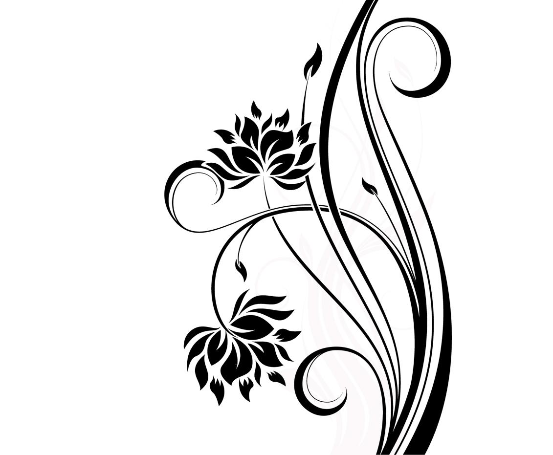 Simple Line Design Patterns of Flowers