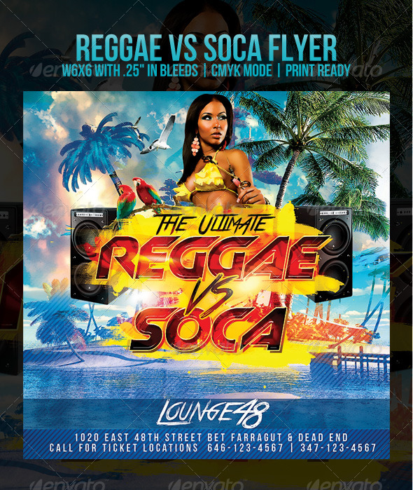 Soca vs Reggae Party Flyer