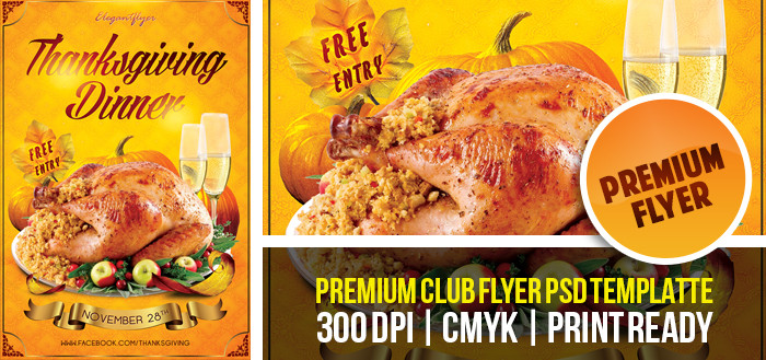 Thanksgiving Dinner Flyer Templates Free