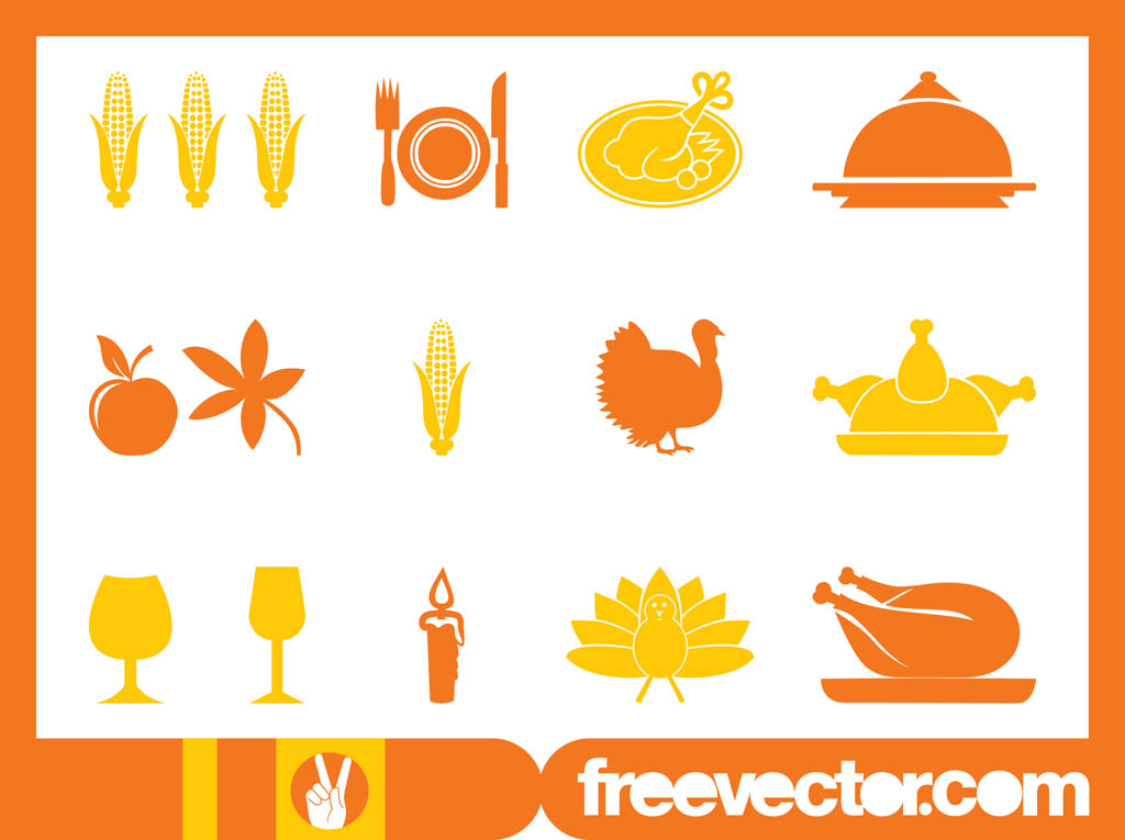 Turkey Icons Thanksgiving